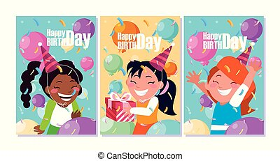 birthday card with little girls celebrating