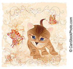 birthday card with little  kitten, flowers and butterflies