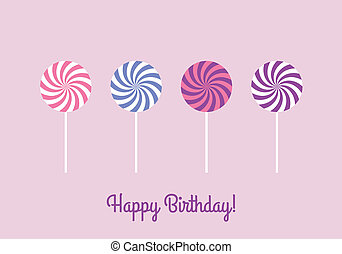 Birthday card with lollipops
