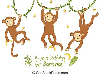 Birthday card with monkeys with funny inscription. Vector graphics.
