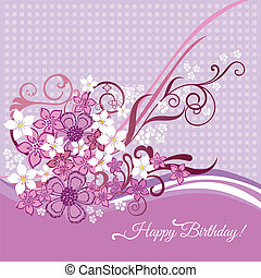 Birthday card with pink flowers - Happy Birthday card with ...
