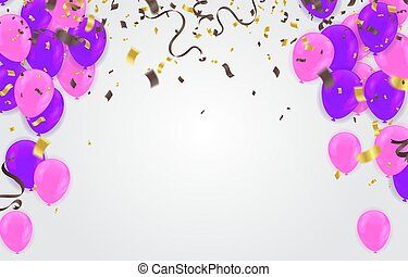 Birthday card with purple balloons and confetti on backgr