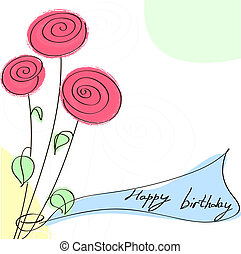 birthday card with roses. Vector illustration