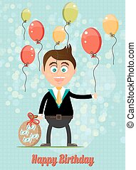 Birthday card with smiling, happy, young, standing, businessman with money, colorful, flying balloons, text Happy Birthday, blue background with pattern and lights