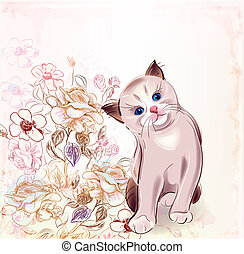 birthday card with thai kitten and roses.Watercolor style.