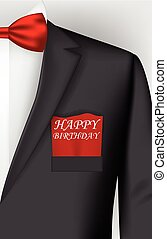 Birthday card with tuxedo costume