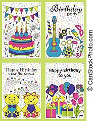 Birthday cards set. Vector illustra