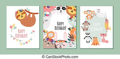 Birthday cards set with animals in scandinavian style flat vector illustration.