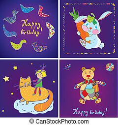Birthday cards templates design set