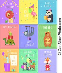 Birthday cards with animals. Wildlife zebra turtle lion and monkey characters at gift celebration colored vector cards