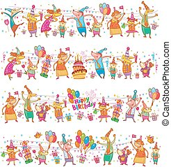 Birthday cartoon border