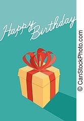birthday cartoon gift box . Happy birthday card