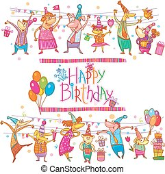 Birthday cartoon set