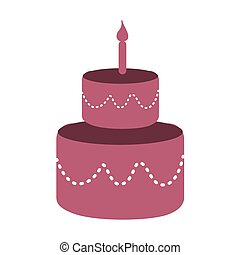 pink cake with candles