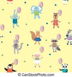 Birthday Celebration Seamless Pattern with Cute Animals