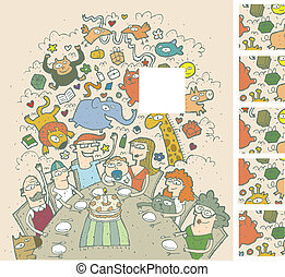 Birthday Celebration Visual Game for children. Illustration is in eps8 vector mode! Task: Find the right missing part of a picture! Solution is 2nd square from above!