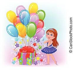 Birthday cheerful girl with gift and lot balls