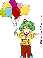 Birthday Clown - Illustration of a Clown Carrying Balloons