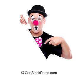 Birthday clown holding the blank - Birthday clown holding...