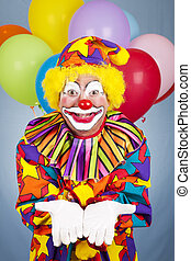 Birthday Clown Open Handed - Birthday clown holds his hands...