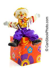 Birthday clown - Clown sitting on a birthday present...