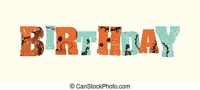 Birthday Concept Stamped Word Art Illustration