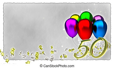 birthday concept with colorful baloons - 50th - birthday...