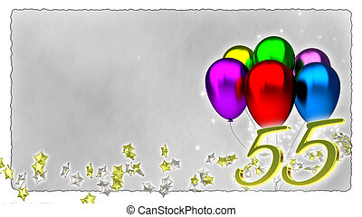 birthday concept with colorful baloons - 55th - birthday...