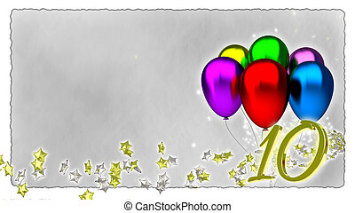 birthday concept with colorful baloons - tenth birthday