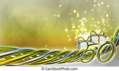 birthday concept with gifts and sparks - fiftieth birthday