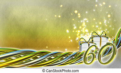 birthday concept with gifts and sparks - sixtieth birthday