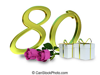 birthday concept with pink roses - 80 th - birthday concept...