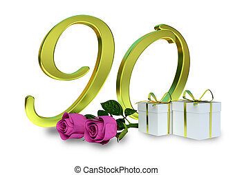 birthday concept with pink roses - 90 th - birthday concept...
