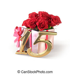 birthday concept with red roses in gift isolated on white background. fifteenth. 15th. 3D render
