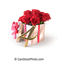 birthday concept with red roses in gift isolated on white background. fourth. 4th. 3D render