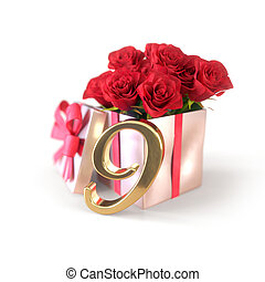 birthday concept with red roses in gift isolated on white background. nineth. 9th. 3D render