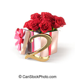birthday concept with red roses in gift isolated on white background. second. 2nd. 3D render