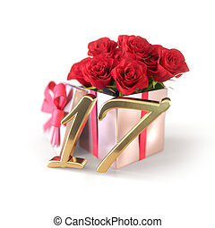 birthday concept with red roses in gift isolated on white background. seventeenth. 17th. 3D render