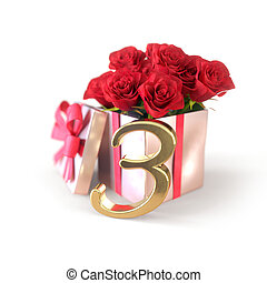 birthday concept with red roses in gift isolated on white background. third. 3rd. 3D render