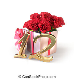 birthday concept with red roses in gift isolated on white background. twelfth. 12th. 3D render