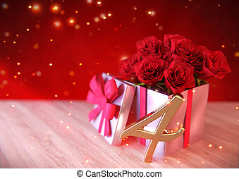 birthday concept with red roses in gift on wooden desk. fourth. 4th. 3D render