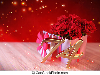 birthday concept with red roses in gift on wooden desk. seventy-fourth. 74th. 3D render