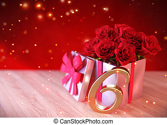 birthday concept with red roses in gift on wooden desk. sixteenth. 16th. 3D render