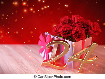 birthday concept with red roses in the gift on wooden desk. twenty-fourth . 24th. 3D render