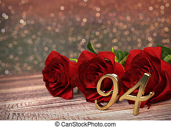 birthday concept with red roses on wooden desk. ninety-fourth. 94rd. 3D render
