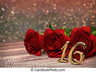 birthday concept with red roses on wooden desk. sixteenth. 16th. 3D render