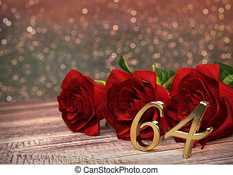 birthday concept with red roses on wooden desk. sixty-fourth . 64th. 3D render