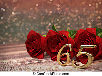 birthday concept with red roses on wooden desk. sixtyfifth. 65th. 3D render