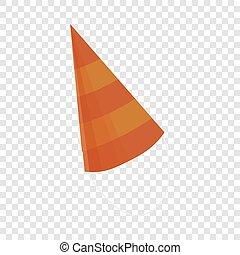 Birthday conical cap icon, cartoon style