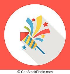 birthday cracker firework flat icon
